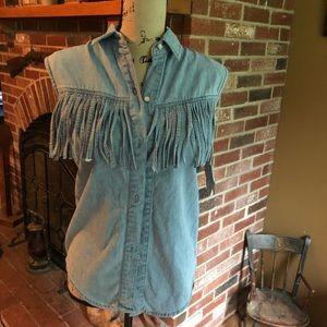 🤩FTNY sleeveless fringe shirt